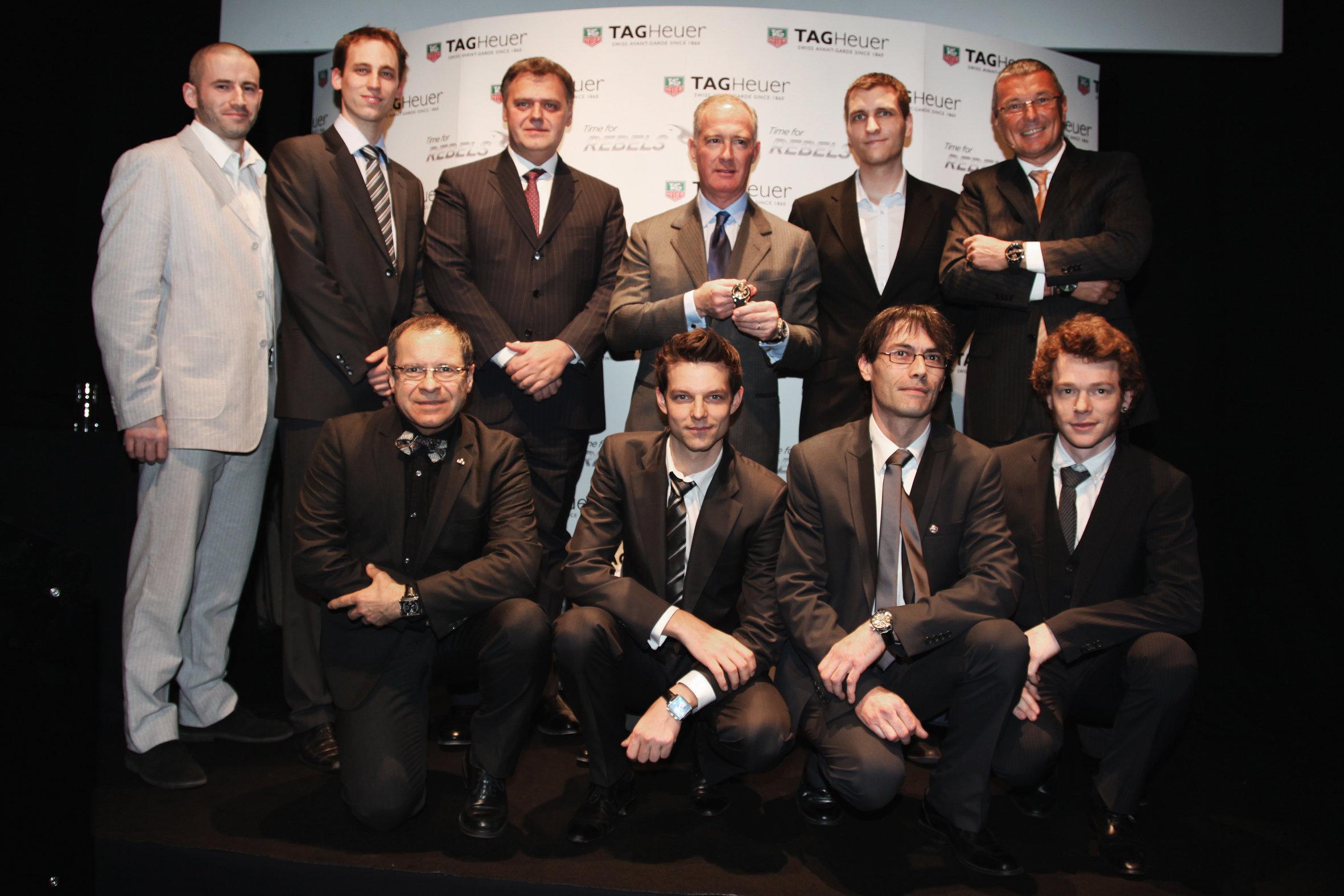 """Francesco Trapani, Presidente de LVMH Group; Jean Christophe Babin, CEO, y Guy Semon, Director de Investigación y Desarrollo, encabezan al grupo de """"rebeldes"""" de TAG Heuer."""