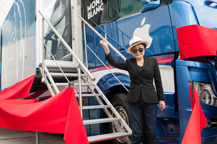 """I'm so thrilled that the Educational Tour Bus will be situated at Meltdown. All kids who are interested in making music and learning how to use instruments in the recording studio should come and make use of this freebie!"": Yoko Ono Lennon."