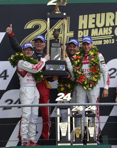 #LeMans24 Loic Duval, Tom Kristensen y Allan McNish, Audi Sport, socio comercial de TAG Heuer.