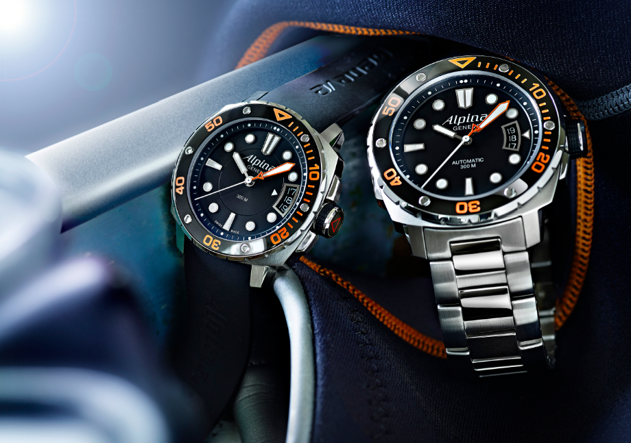 Alpina Extreme Diver 300 Orange en sus dos versiones.