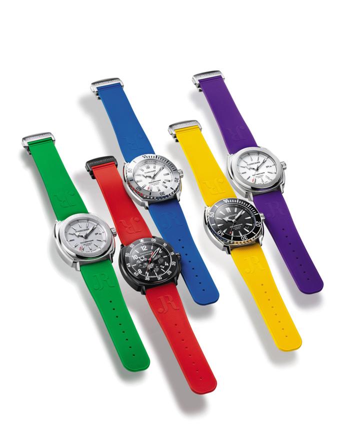 """JEANRICHARD // Terrascope, Aquascope, Aeroscope """"veraniegos"""", verde, rojo, azul, amarillo y púrpura, son los colores que la marca ha empleado para la creación de las novedosas correas de caucho marcadas con la tradicional """"JR"""" de JEANRICHARD."""