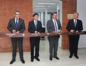 Mr. Cantin, Mr. Zhou Gobernador del Distrito de Huangpu, Mr. Thierry Stern, Presidente de Patek Philippe y Mr. Decu Melchers.