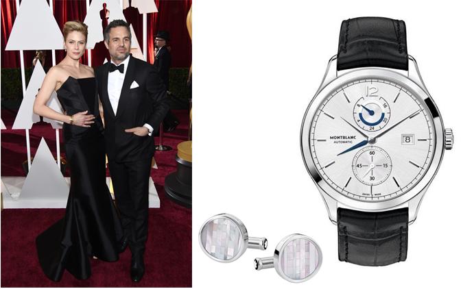 Mark Ruffalo, nominado a mejor actor de reparto por Foxcatcher eligió el reloj Montblanc Heritage Dual Time (112540) y mancuernillas Montblanc (109499)
