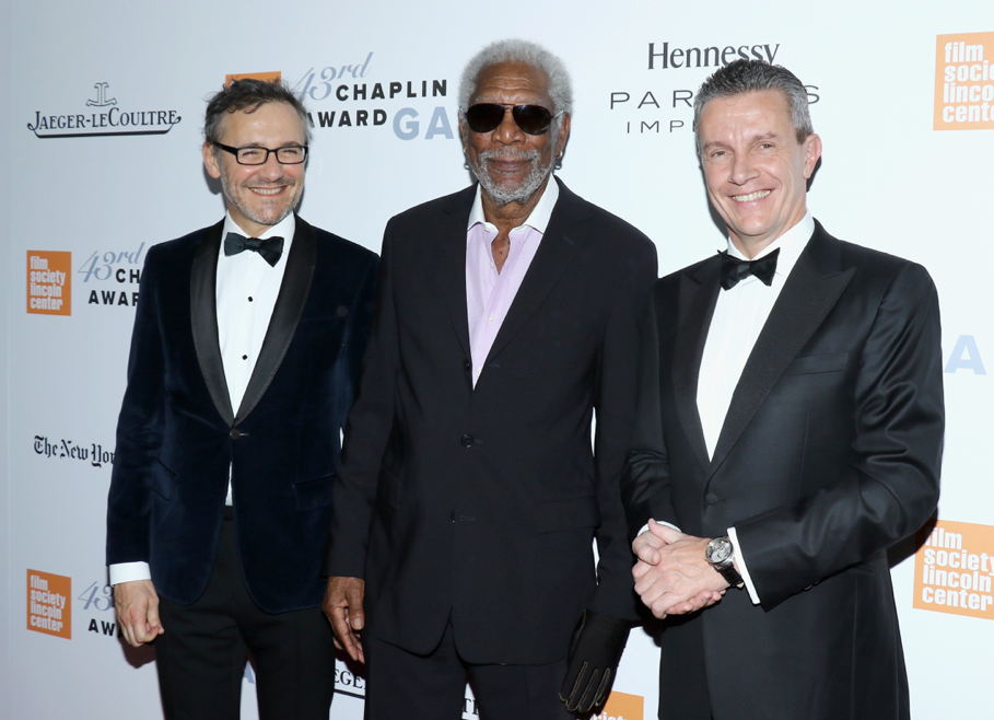 Lauren Vinay, Morgan Freeman and Daniel Riedo - 43rd Chaplin Award Gala - GettyImages