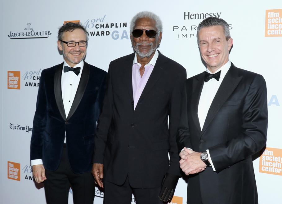Lauren Vinay, Morgan Freeman and Daniel Riedo - 43rd Chaplin Award Gala - GettyImages