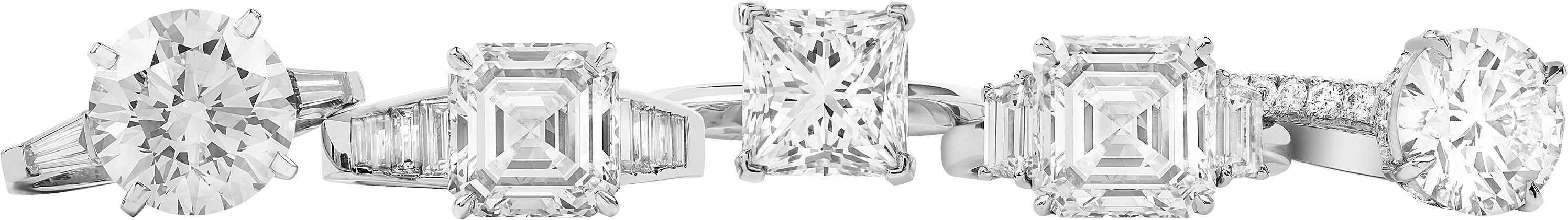 ANILLOS DE DIAMANTES REDONDOS, SQUARE CUT, PRINCESS, EMERALD CUT, BAGUETTE Y STEP CUT
