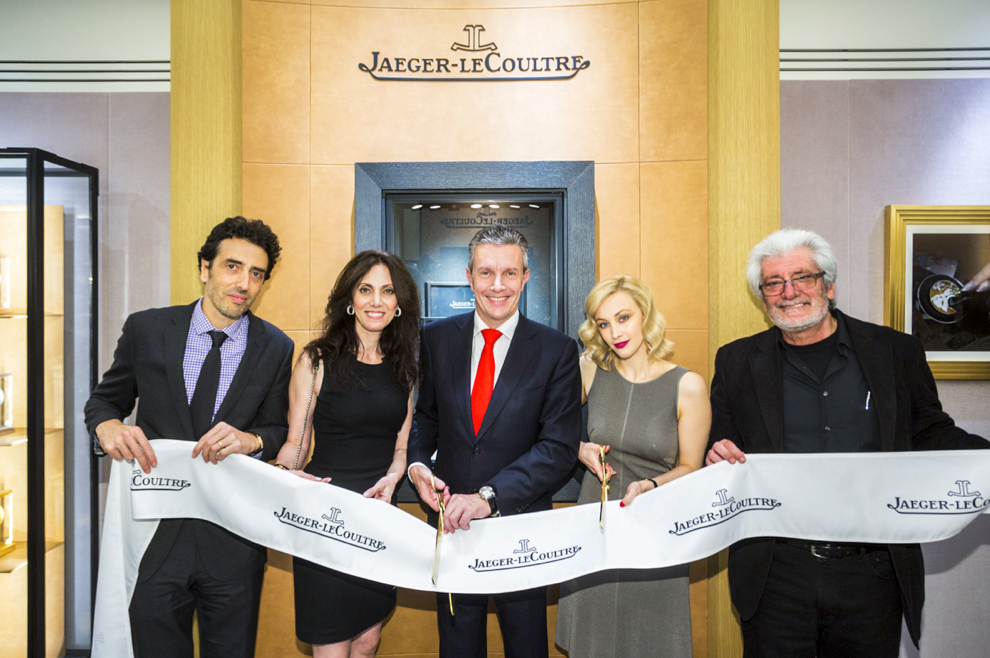 Jaeger-LeCoultre-Philippe Bonay, Rita Horozian, Daniel Riedo, Sarah Gadon and Vic Horozian - Vancouver Boutique Opening - GettyImages