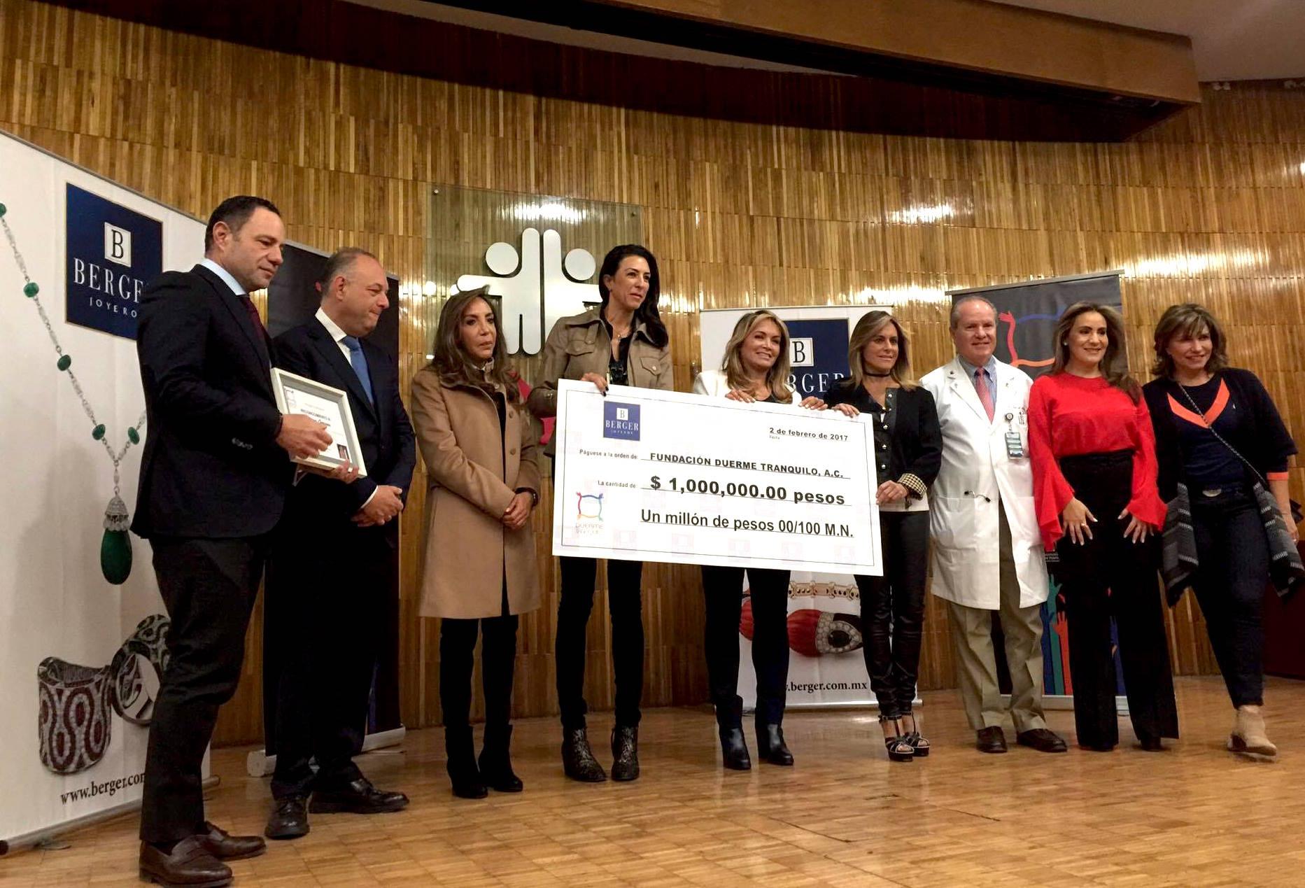 Berger anuncia cifra oficial a la Fundación Duerme Tranquilo, A.C.