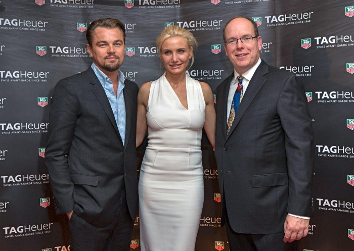 Leonardo DiCaprio, Cameron Diaz junto al Príncipe Alberto II de Mónaco