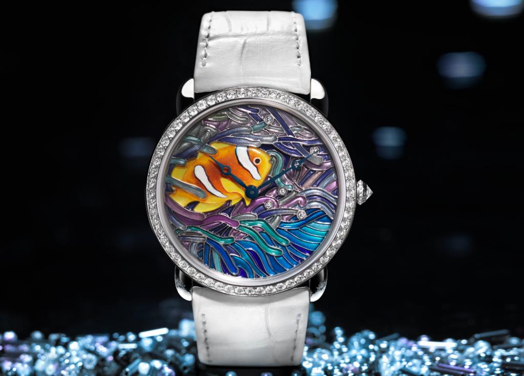 Reloj Ronde Louis Cartier, talla XL, con motivo de pez y coral