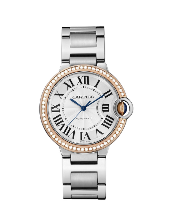Ballon Bleu de Cartier watch in steel and pink gold 28 mm