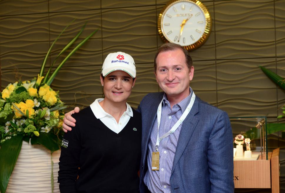 Lorena Ochoa y Gonzalo Álvarez, Director General de Rolex México