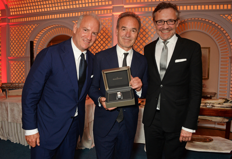 Charles Finch, Nick Broomfield, awarded filmmaker and Laurent Vinay, Jaeger-LeCoultre at Charles Finch Filmmaker dinner with Jaeger-LeCoultre Getty