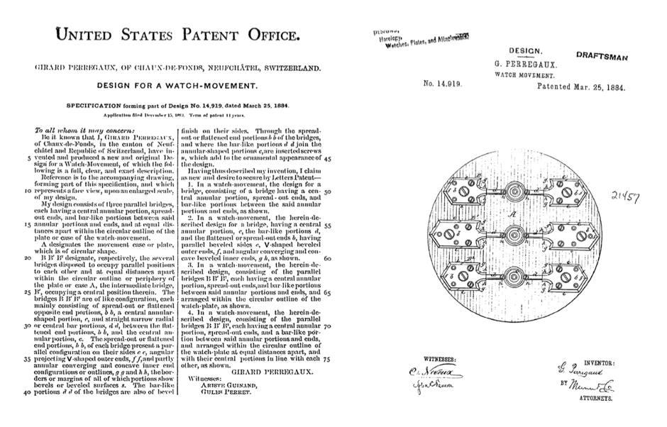 Girard-Perregaux Patente por Tourbillon de 3 puentes de oro USA