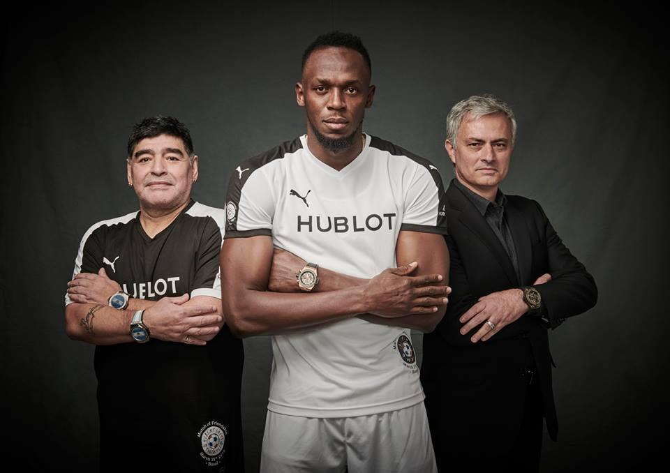 Diego Maradona, Usain Bolt y José Mourinho en una campaña para la marca de relojes, Hublot