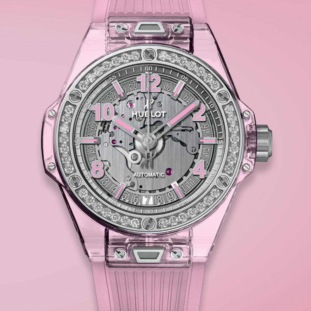 relojes-rosas-mes-de-la-mujer-octubre-cancer-mama-2019-Hublot-Big-Bang-One-Click-Pink-Sapphire