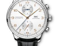IWC Schaffhausen Portugieser Chronograph 2020-caja de acero agujas azules y caratula plateada