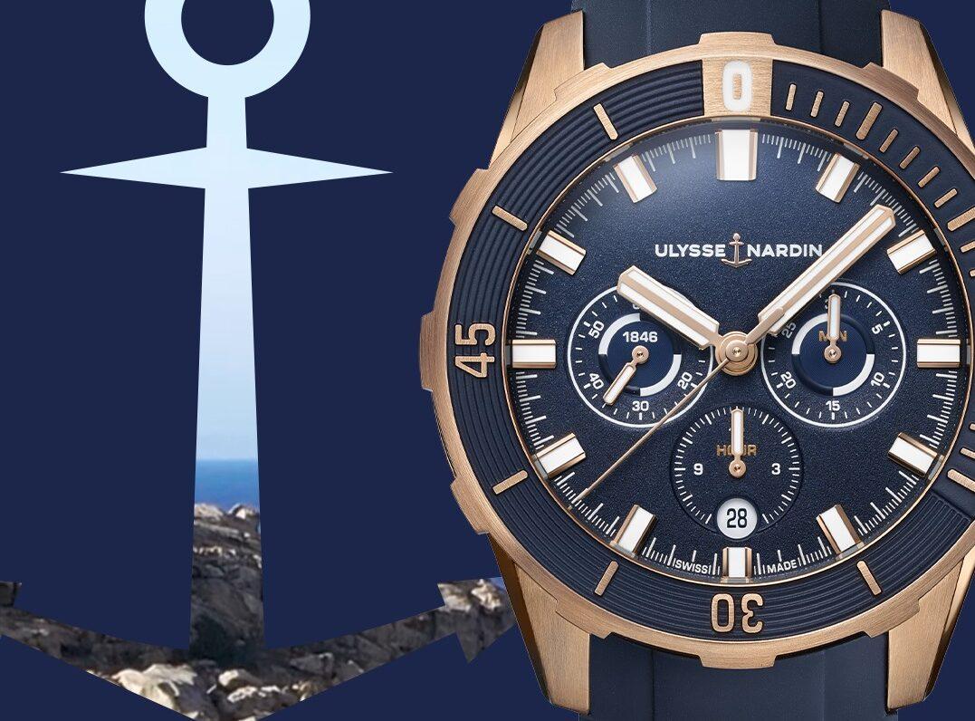 Ulysse Nardin Diver Chronograph 44 Blue and Rose Gold-