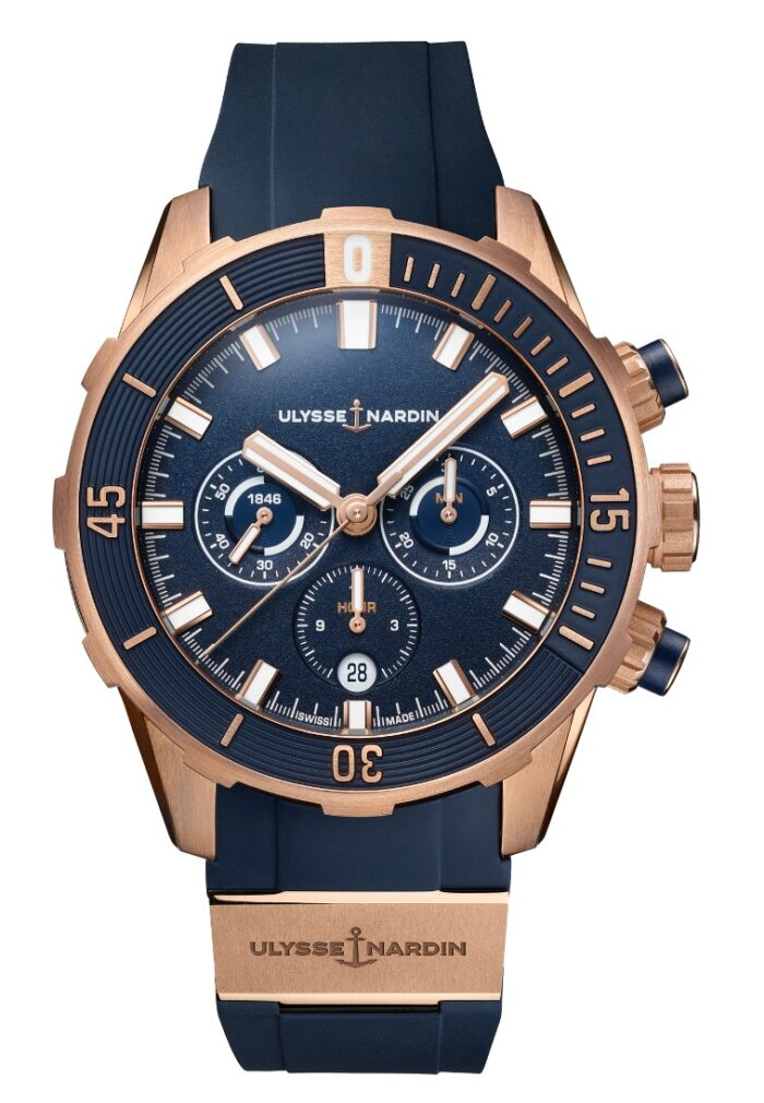 Ulysse Nardin Diver Chronograph 44 Blue and Rose Gold-pack