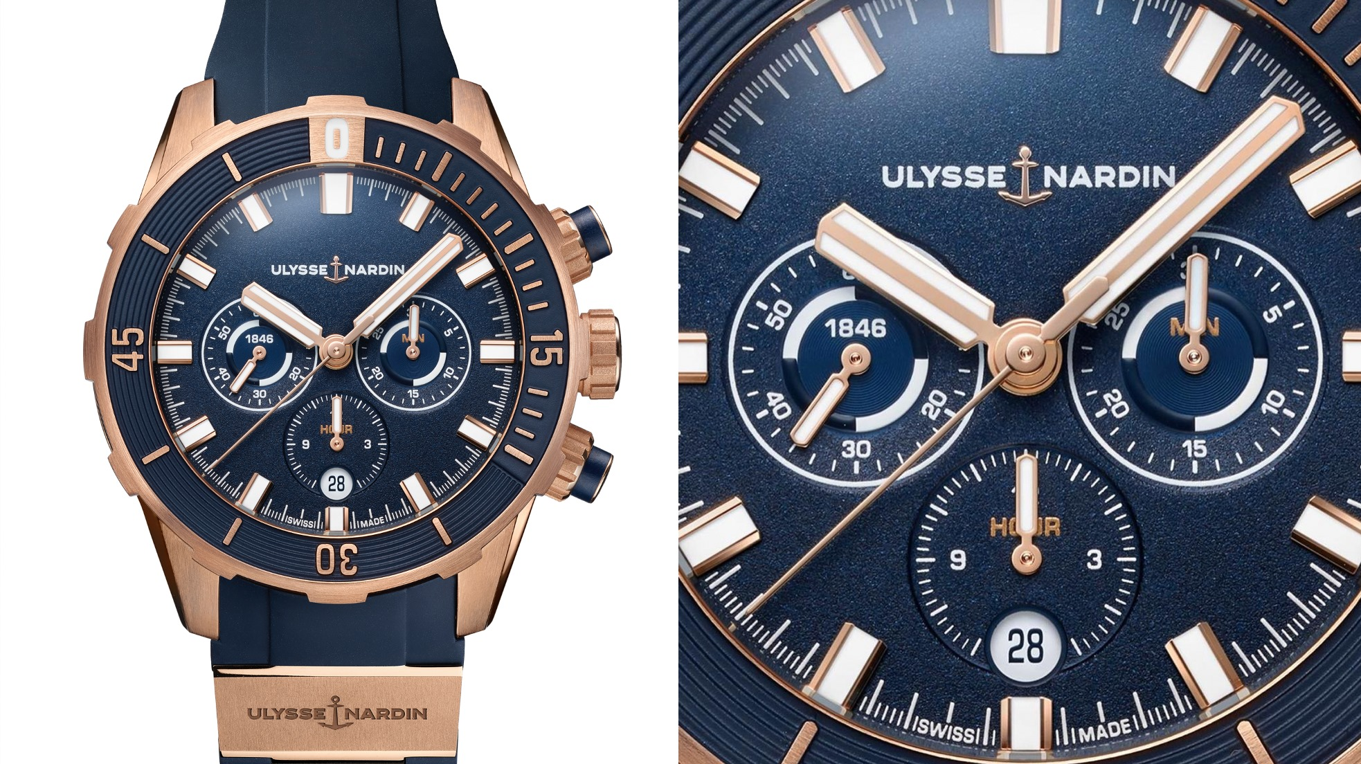 Ulysse Nardin Diver Chronograph 44 Blue and Rose Gold-slider