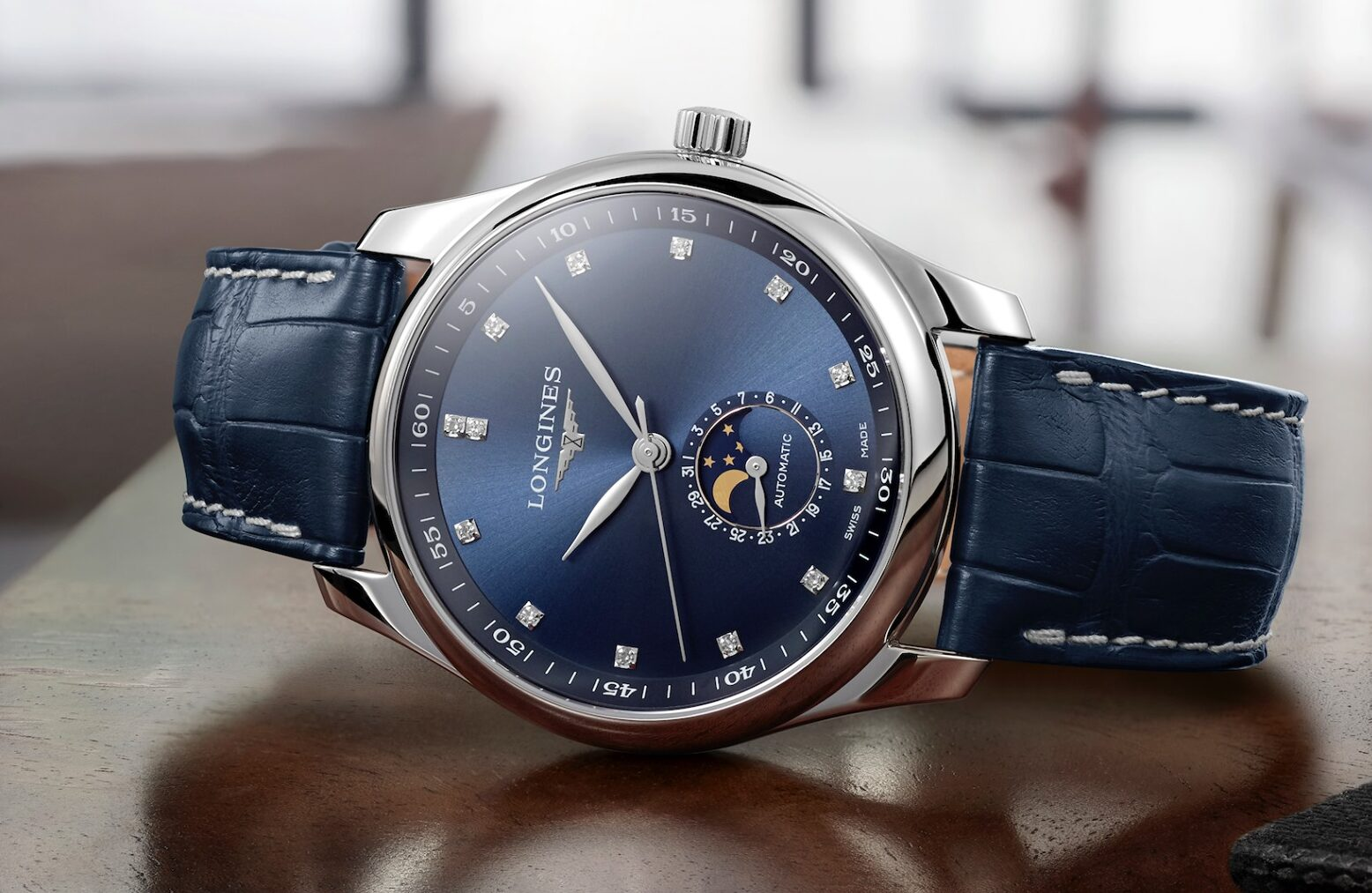 The Longines Master Collection-azul y diamantes