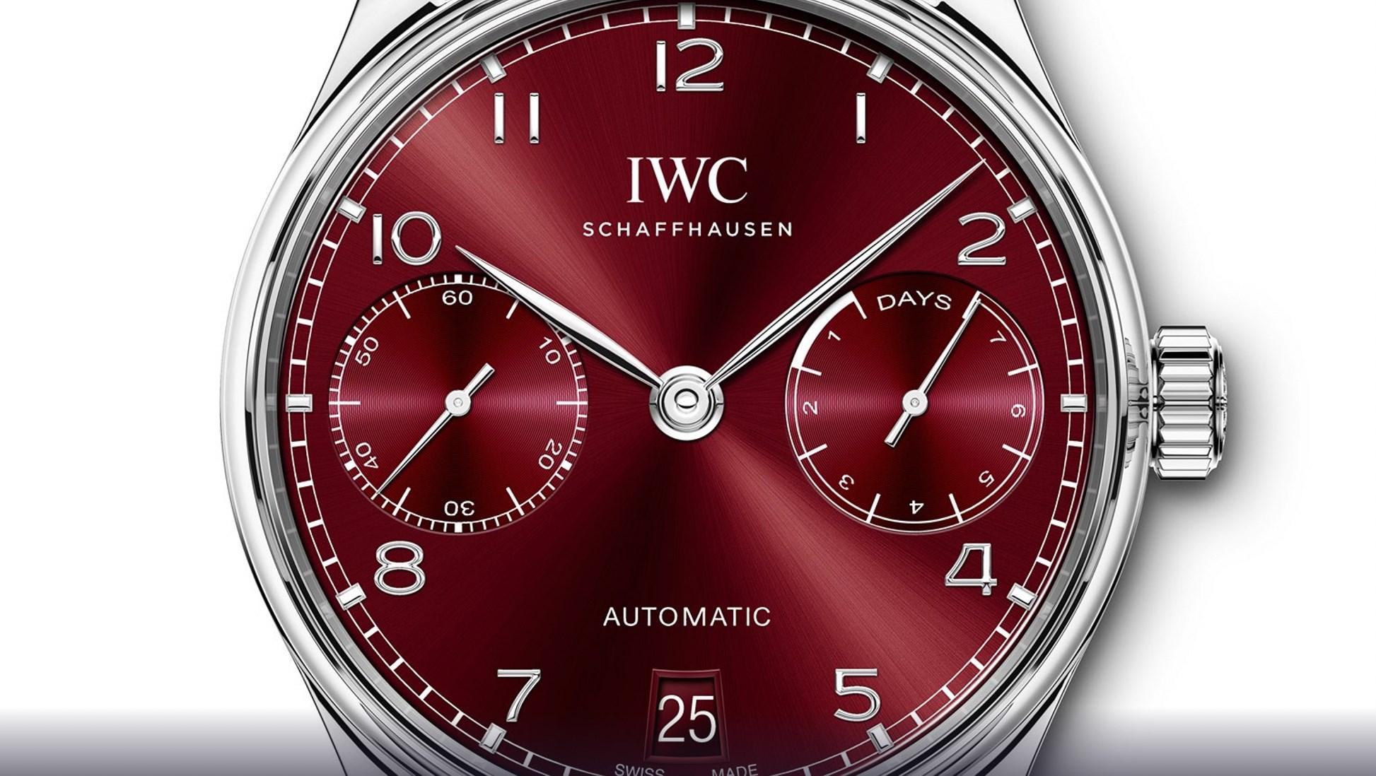 IWC Schaffhausen Portugieser - boutique edition burgundi zoom