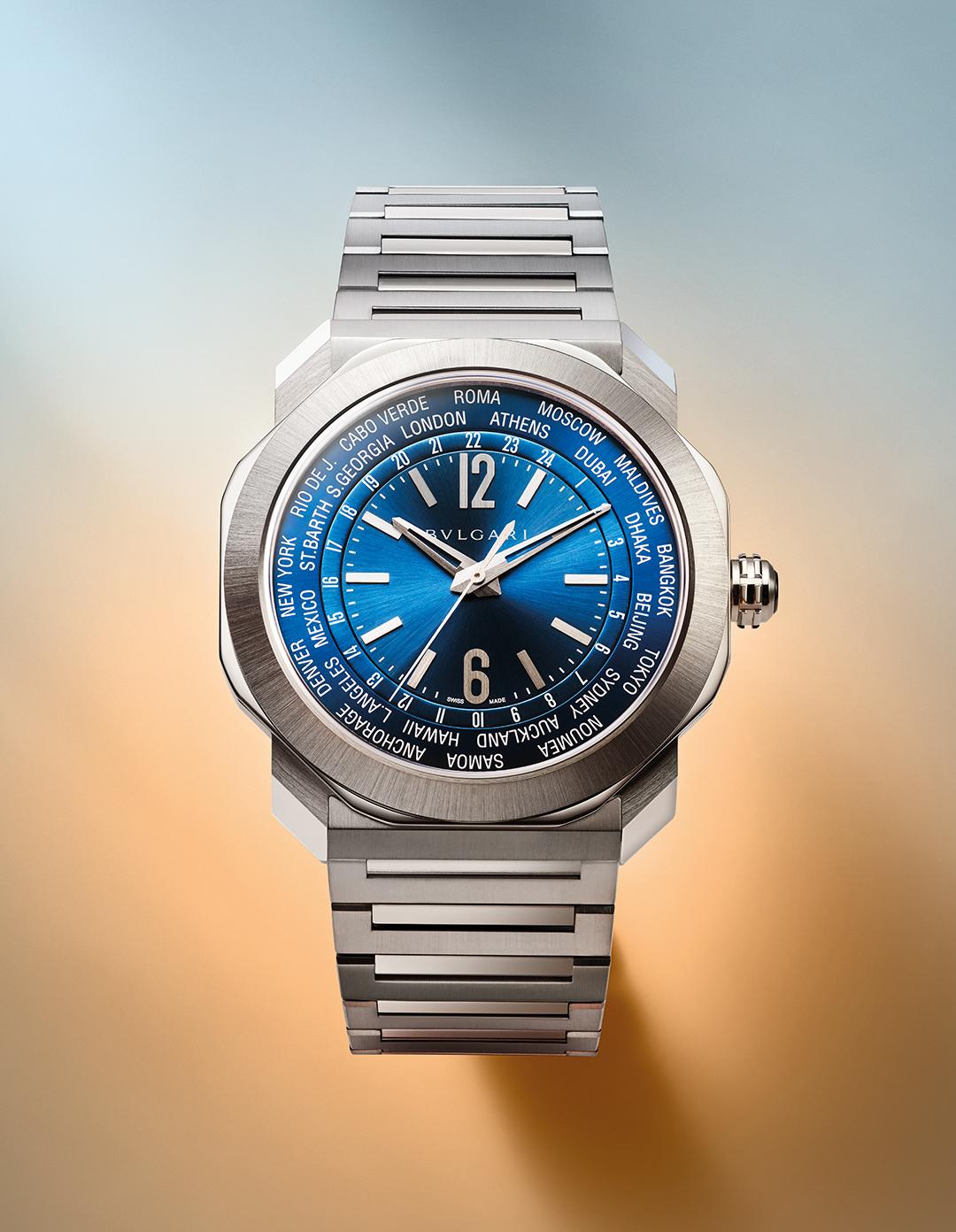 BVLGARI OCTO ROMA WORLDTIMER BLUE 103481